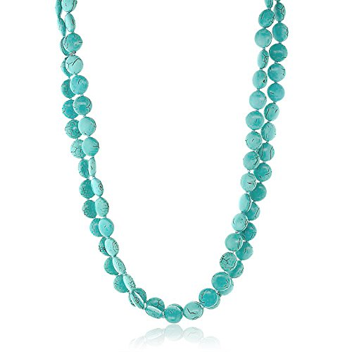 Gem Stone King Handmade 48 Inch Long Pebble Shape Simulated Turquoise Necklace