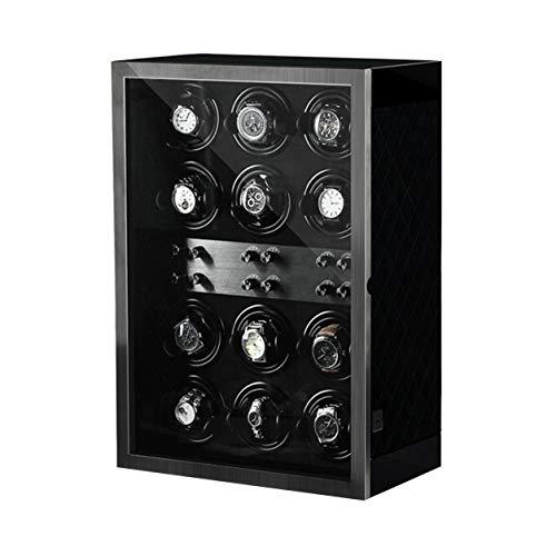 YZSHOUSE Clasico Cajas Giratorias para Relojes Automatico, Grande Vitrina con Iluminación LED, Silencioso Bobinadora para Relojes (Size : 12)