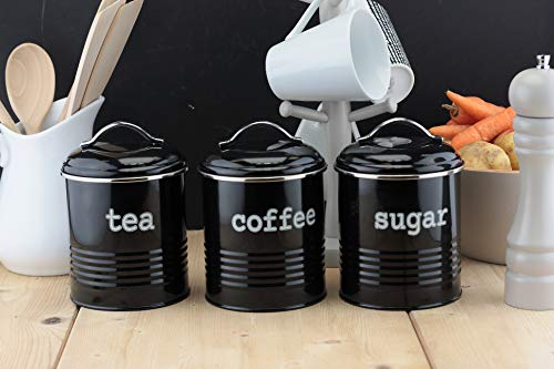 EHC Set of 3 Airtight Tea Sugar and Coffee Storage Canister Jars, Black