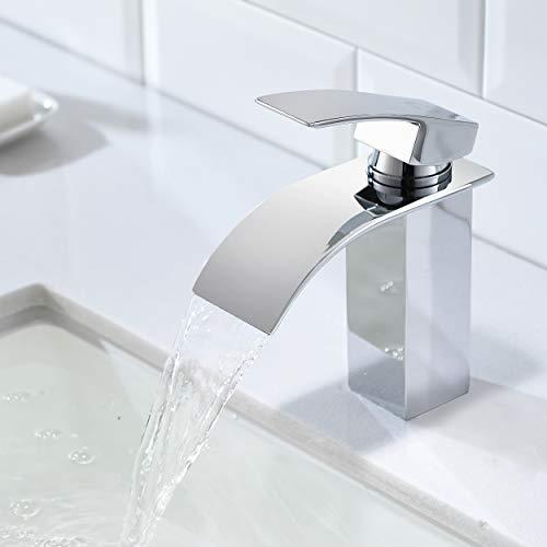 CECIPA | Ares H102C | Wasserhahn fürs Bad aus Edelstahl mit Wasserfallform | Chrom | Kurz