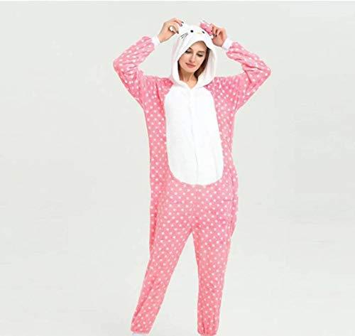 Unisex pyjama volwassen dier Onesies flanel Dot pyjama schattig Cartoon eendelige pyjama prestaties kleding, JUSTTIME XL Stip