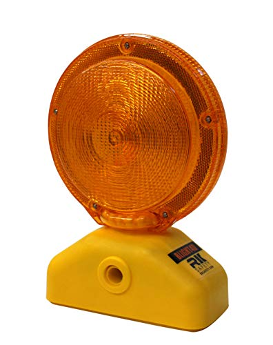 RK Safety BLIGHT4D Barricade Light, D-cell with Photocell, 3-Way Switch, Yellow Case/Red Lens (2 piece)