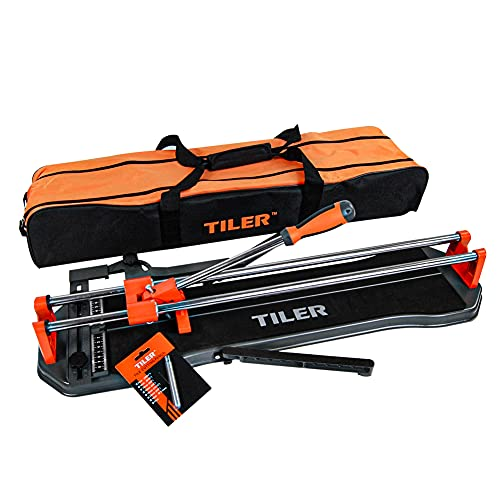 Fit Choice 24 Inch Manual Tile Cutter, Professional Porcelain Floor Tile Cutter W/Cutting Wheel & Removable Scale, Cutting up to 0.55', Anti Skid Rubber Surface, Come With A Carry Bag (24', Orange)
