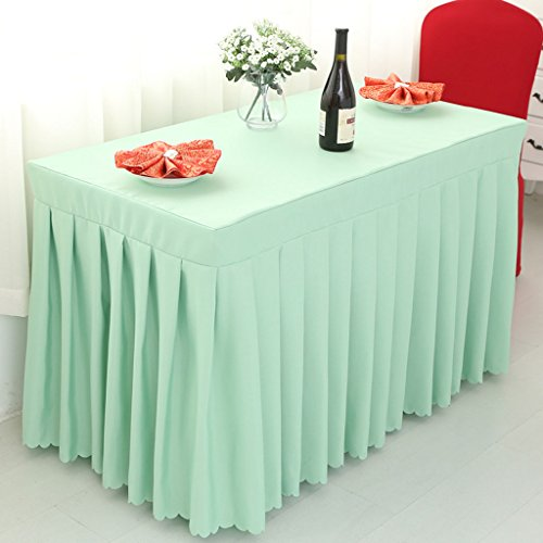 Nappes Fitted Table Skirt Cover Wedding Banquet With Top Topper Nappe - Pea Green ( Couleur : Pea green , taille : 60*160*75CM )