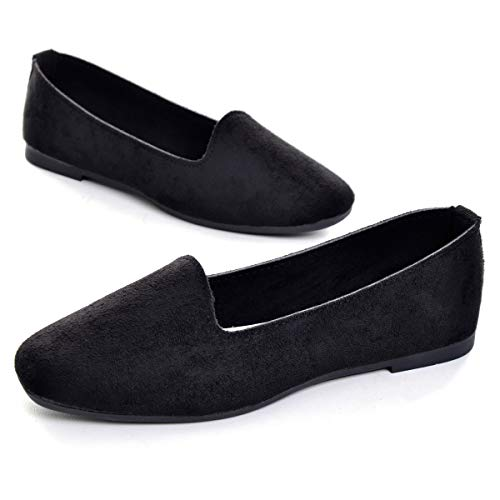 Hee grand Womens Ballet Flats Printed Slip On Round Toe Loafers Flat Shoes Womens Faux Suede Black