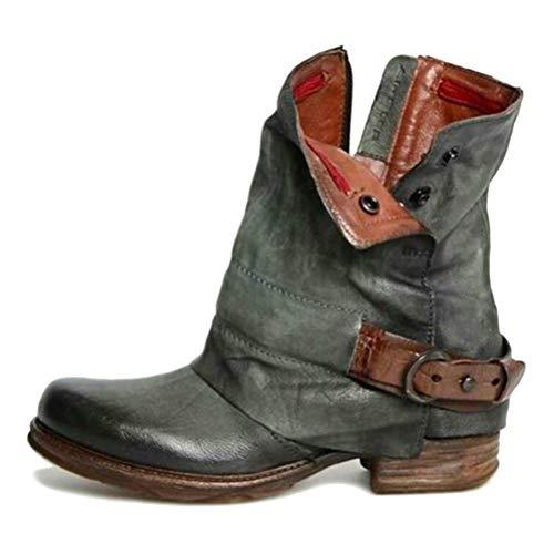 Leder Stiefe für Damen Retro Blockabsatz Stiefeletten Frauen Bequeme Schuhe mit Rutschfester Sohle Mode Herbst Winter Casual Boots Schuhe Stiefel A Grün 36 EU