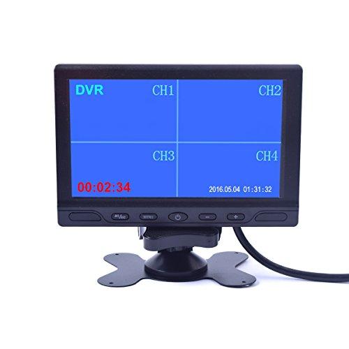 Cocar 7 Zoll Auto LKW Quad Split Monitor mit eingebautem DVR Video Recording 4 Kanäle Quad Display Front / Links / Rechts / Zurück RCA Eingang für Trailer Camper Wohnmobil - 12V-24V LCD Bildschirm
