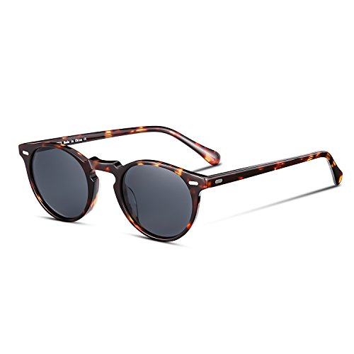 CANYEUX Vintage Round Polarized Sunglasses for Women and Men, 100% UV Protection (Tortoise Frame With Grey Lens) Maine