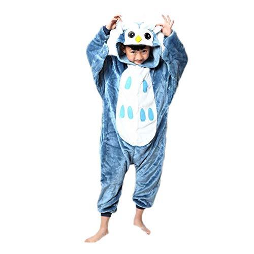 Black Sugar Combinaison Kigurimi Pyjama Grenouillère Zèbre Hibou Vache Licorne Dinosaure Girafe Enfant Unisexe en Peluche Doux Déguisement Carnaval Cosplay Soirée (8-10 Ans, Hibou)