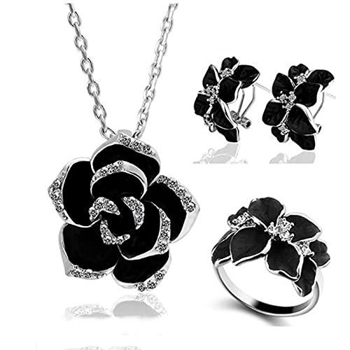 CYTSH Conjunto de Joyas de Flor de Rosa Pintura de joyería Nupcial (Metal Color : Silver Black 3 18mm)