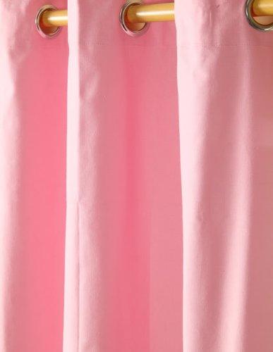 Homescapes – Paire de Rideaux à œillets Prêt-à-Poser – Uni Rose – 100% Coton – 117 x 137 cm