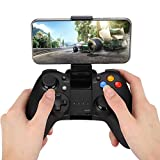 Controller Joystick for Games, Wireless Bluetooth Gamepad Gaming Controller with Cell Phone Holder, Non-Slip Grip, 10H Play time, USB Connection for Android/iOS/PC(Black)