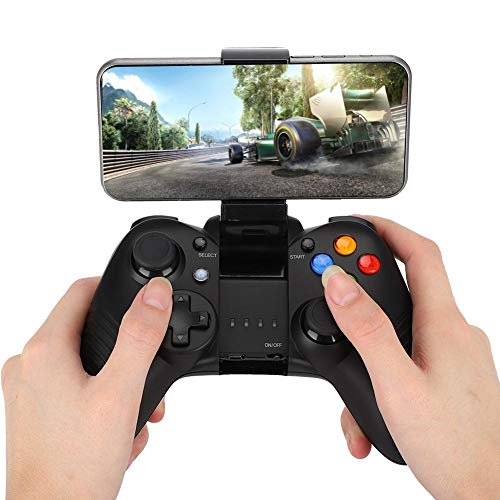 Controller Joystick for Games, Wireless Bluetooth Gamepad Gaming Controller with Cell Phone Holder, Non-slip grip, 10H Play Time, USB Connection for Android