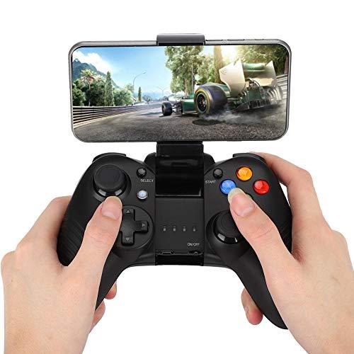 Controller Joystick für Spiele, Wireless Bluetooth Gamepad Gaming Controller mit Handyhalterung, rutschfestem Griff, 10H Spielzeit, USB Anschluss für Android/IOS/PC(Schwarz)