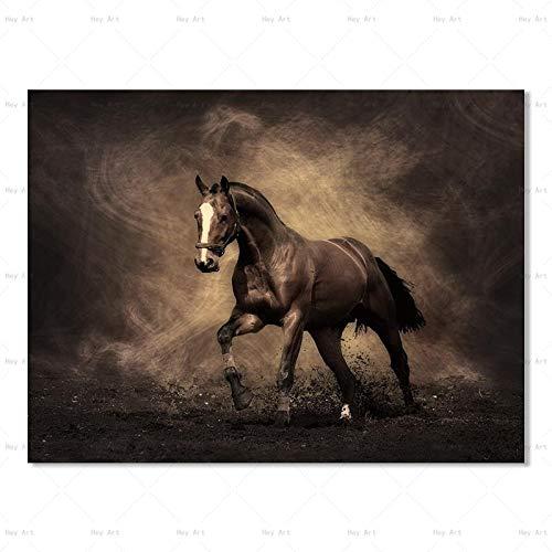Arte de la pared pintura animal lienzo pintura cartel e impresión caballo pintura sin marco sala de estar familia sin marco pintura decorativa Z12 60x80cm