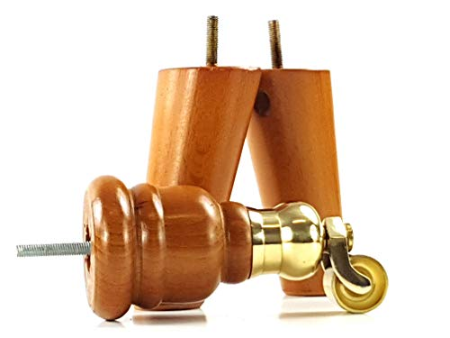 2 x goldene Eiche, 165 mm hoch, Möbelbeine aus Holz, mit Ersatz-Messing-Kesselrolle und 2 abgewinkelte Rückenlehne, Sofas, M8 (8 mm) TSP2007