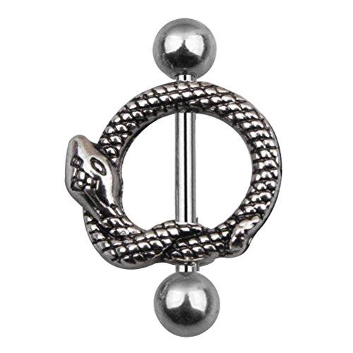 Fenical Piercing capezzolo a forma di serpente in Argento