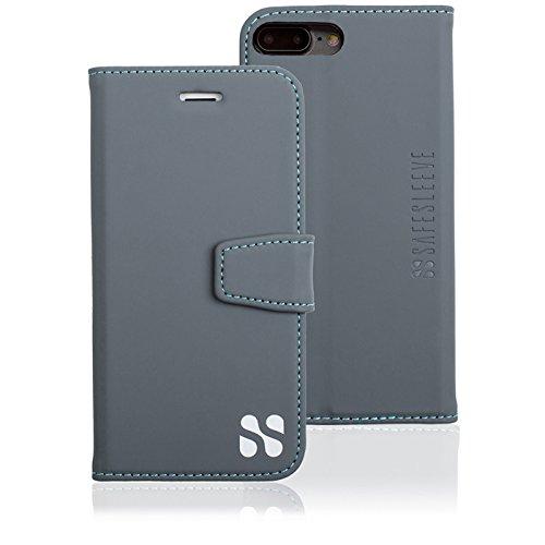 SafeSleeve EMF Protection Anti Radiation iPhone Case: iPhone 8 Plus, iPhone 7 Plus and iPhone 6 Plus RFID EMF Blocking Wallet Cell Phone Case (Grey)