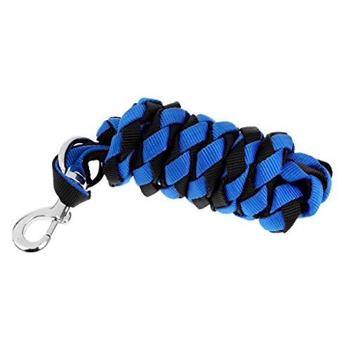 馬ポニー犬ロバ牛ヤギ用の頑丈なナイロンロングリードロープ-2 / 2.5 / 3mを選択 - ブルー+ブラック, 2.5メートル