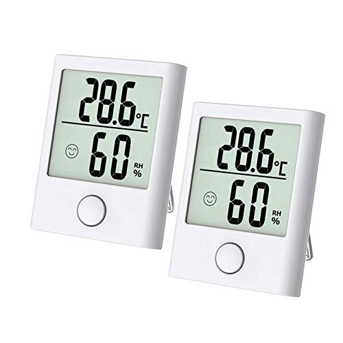 Thermo Hygrometer, Luftfeuchtigkeitsmessgerät Innen Digitales Thermo-Hygrometer Feuchtigkeitsmesser Feuchtigkeit Digital mit Hohen Genauigkeit, Geeignet für Babyraum, Wohnzimmer, Büro, 2 Stück