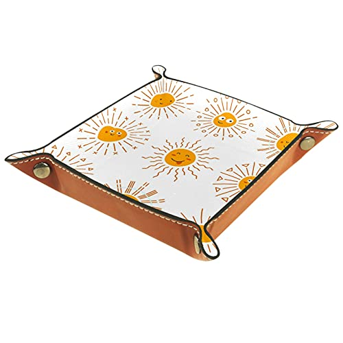 Schmuck Ledertablett Nachttablett für Schlüssel, Telefon, Münze, Brieftasche, Uhren usw., Kaffee, Emoticon Sun Collection