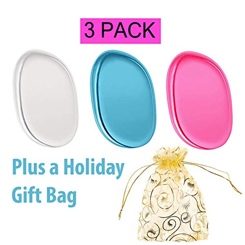 3 Premium Silicone Makeup Applicator Sponges and Holiday Organza Bag- Cosmetic Blender for Even Application of Primer, Concealer, Foundation, Highlighter - Silisponge Alternative, Latex-Free. (Clear,
