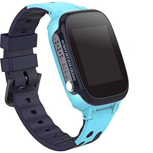 PTHTECHUS Niños Smartwatch Impermeable, Reloj Inteligente Phone con LBS Tracker SOS Chat de Voz Cámara Despertador Juego Cálculo para Regalos Estudiantes Compatible con iOS Android (01 LBS SOS Azul)