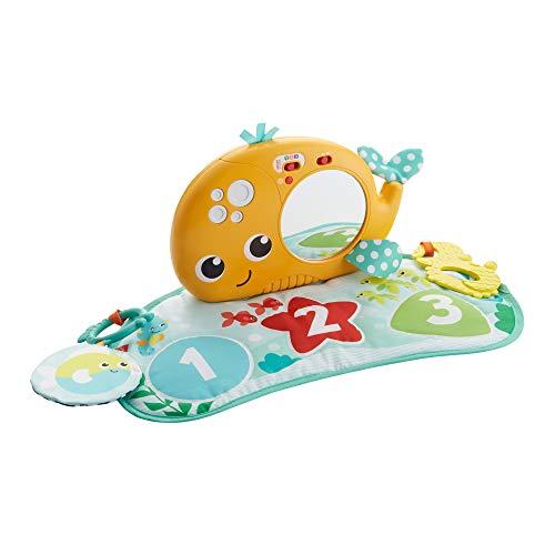 Fisher-Price GGK34 - Heb Dein Köpfchen Wal Spielmatte mit Spiegel zum Spielen in der Bauchlage, Babyerstausstattung ab Geburt