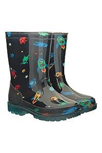 Mountain Warehouse Botas de Agua Splash Junior con Luces parpadeantes para niños - Duraderas, de Limpieza fácil - La Suela se Ilumina - Botas de Agua Ideales Cobalto 28