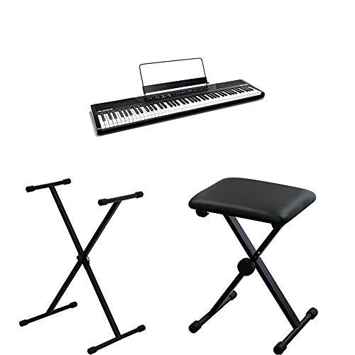 Alesis 88鍵盤 初心者向け電子ピアノブラック と キクタニ キーボードスタンド と キーボードベンチのセット