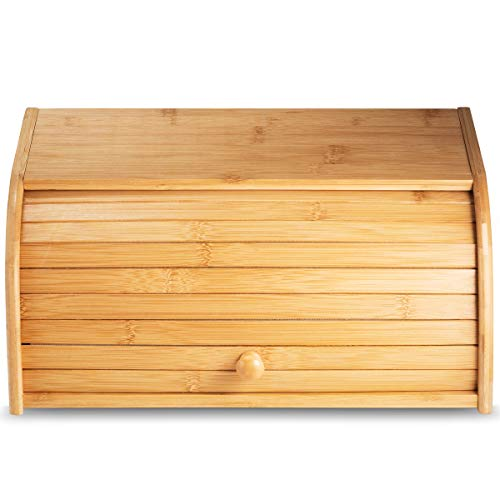 Klee Large Natural Bamboo Roll Top Wood Bread Box for Kitchen Countertop – Farmhouse Style Bread Boxes for Countertop NO ASSEMBLY Required