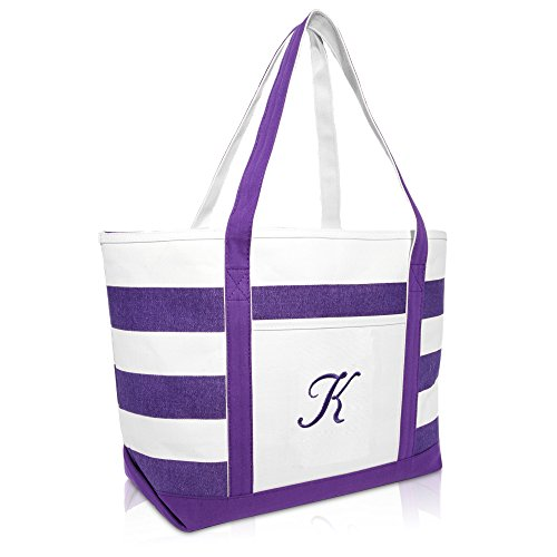 DALIX Monogrammed Beach Bag and Totes for Women Personalized Gifts Purple K