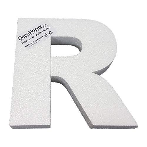 Lettera R da 200 mm di altezza x 30 mm di spessore, in polistirolo espanso non verniciato.