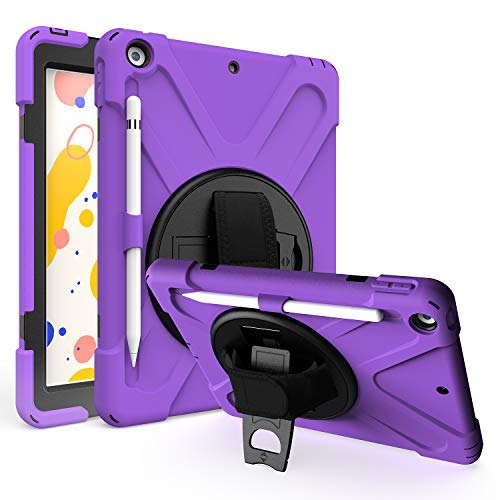 """iPad 8th 7th Generation Case 10.2 KIQ Shockproof Protective Heavy Duty Pencil Holder Loop Stand Rotating Hand Secure Grip Shoulder Strap Sling for Apple iPad 10.2"""" 7th 8th Gen 2019/2020 [Purple]"""