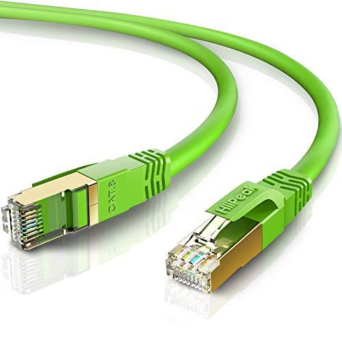 HiiPeak 1.5m-2pack LANケーブル CAT8 カテゴリー8 超高速 40Gbps 2000MHz イーサネットケーブル RJ45コネクタ 金メッキ SFTP 26AWG ツメ折れ防止 ルーター、プリンター、PS4、PC、Mac、XBoxに対応 (1.5m-2pk, 緑)