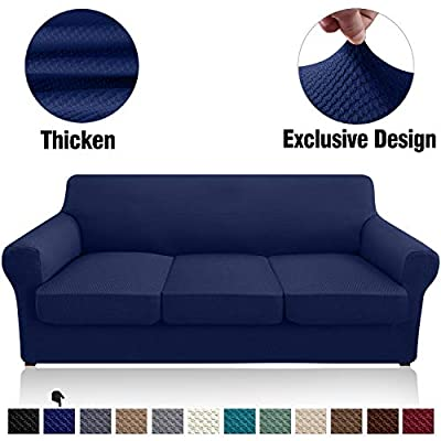 Granbest 1 Piece High Stretch Couch Cover with 3 Cushion Covers Thick Premium Sofa Slipcover Fitted Sofa Cover Furniture Protector for 3 Seat Sofas Dog Pet Proof Machine Washable (Large, Navy Blue)