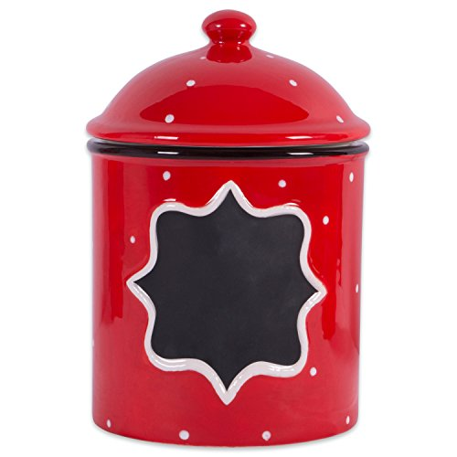 DII Ceramic Farmhouse Chic Polka-Dot Canister/Container Organize Your Kitchen, Countertops, Cupboards or Pantry, Medium