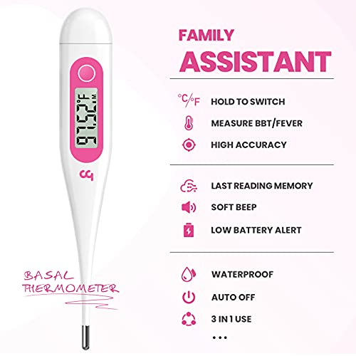 Digital Basal Thermometer, 1/100th Degree High-Precision Oral Thermometer with Memory Recall, Accurate Digital Thermometer for Fever and Natural Family Planning by Femometer