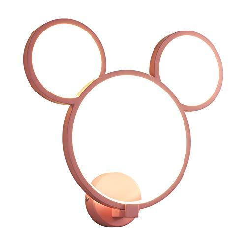 Zek Lámpara de Pared de Mickey Mouse, lámpara de cabecera led para el hogar, luz cálida, atenuación Continua, habitación de los niños/Sala de Estar/Dormitorio/Cocina, Hierro, Aluminio, Rosa