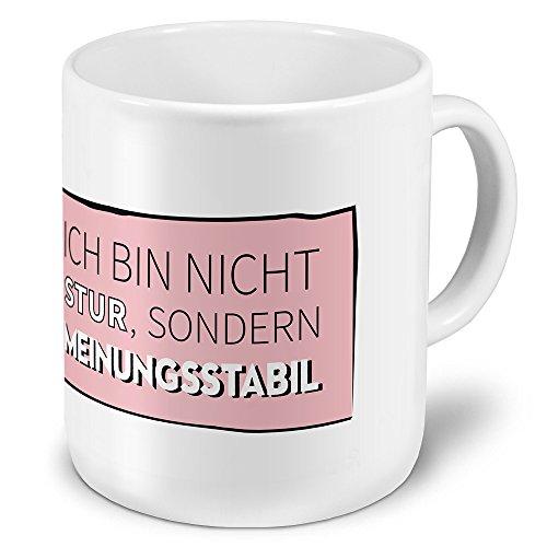 printplanet XXL Riesen-Tasse mit Spruch: Ich Bin Nicht stur, sondern meinungsstabil -Kaffeebecher, Sprüchebecher Becher, Mug