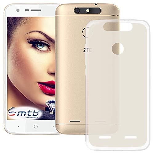 mtb more energy® Schutz-Hülle Milky für ZTE Blade V8 Lite (5.0'') - transparent/weiß satiniert - flexibel - TPU Hülle Schutzhülle Tasche