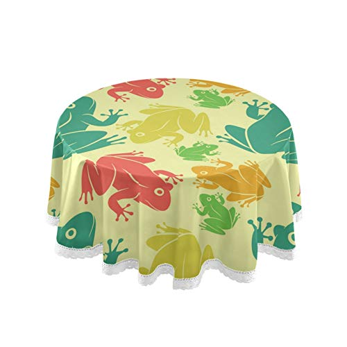 RELEESSS Round Tablecloth Frog Pattern Table Cloth Circular 152cm Table Cover for Home, Kitchen, Dinning, Garden, Cafe, Buffet, Party, Wedding, Restaurant, Indoor Outdoor Tabletop Decor