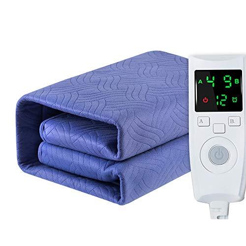Wushu Heizdecken & Wärmeunterbetten Heizdecke Double Double-Steuerung Thermostat Haushaltssicherungen Entfeuchtung Blue Electric Matratze (Color : Blue, Size : 200 * 180cm(79.7 * 70.9in))