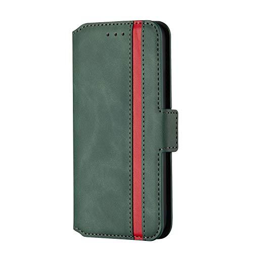 Fatcatparadise Coque pour Huawei Mate 30 [avec Verre Trempé], Fermeture éclair Housse en PU Cuir Case de Protection Portefeuille Cover [Fentes pour Cartes] (Vert)