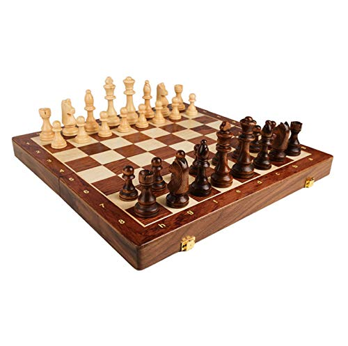 Cxcdxd Tablero de ajedrez Juego de Tablero de ajedrez portátil Juego de ajedrez para Principiantes Juego de Damas magnéticas Plegables Juguetes educativos para Principiantes de la Familia