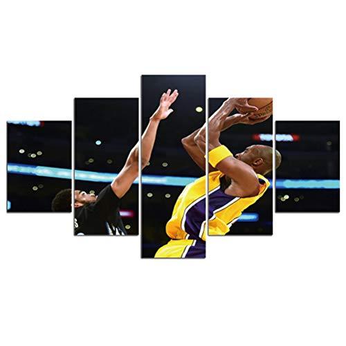 FBART Kobe - Cuadro impreso moderno de la NBA, diseño de estrella de baloncesto, color negro, Amamba Peter Pan, Q, Medium