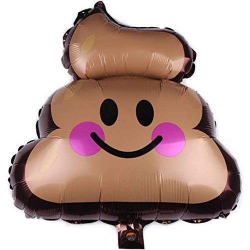 DIWULI, lustiger Poop Emoji Luftballon, Kackhaufen Smiley Folien-Luftballon, brauner Furz Folien-Ballon für Geburtstag, Mädchen Junge Kindergeburtstag, Party, Dekoration, Geschenk-Deko