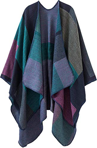 Lacavocor Women's Warm Wrap Cape Winter Cardigan Sweaters Open Front Poncho (A1-Purple)