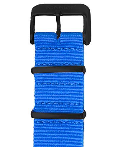Pop Pilot Damen Stoff Uhrenarmband Neon-Blue L 22mm