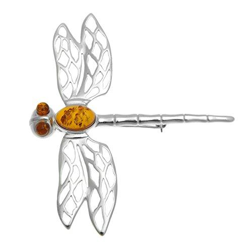 Amazing ámbar Báltico y broche de plata de ley 925 de libélulas broche con forma de
